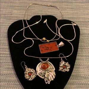 Mixed lot silver and amber - earring, necklaces